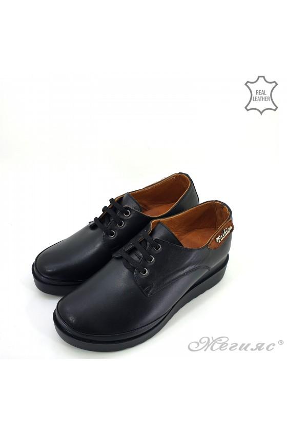 Дамски обувки на платформа естествена кожа черно 9265