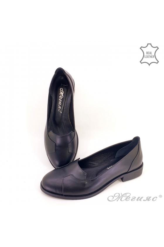 Дамски обувки ежедневни естествена кожа черни 210-k