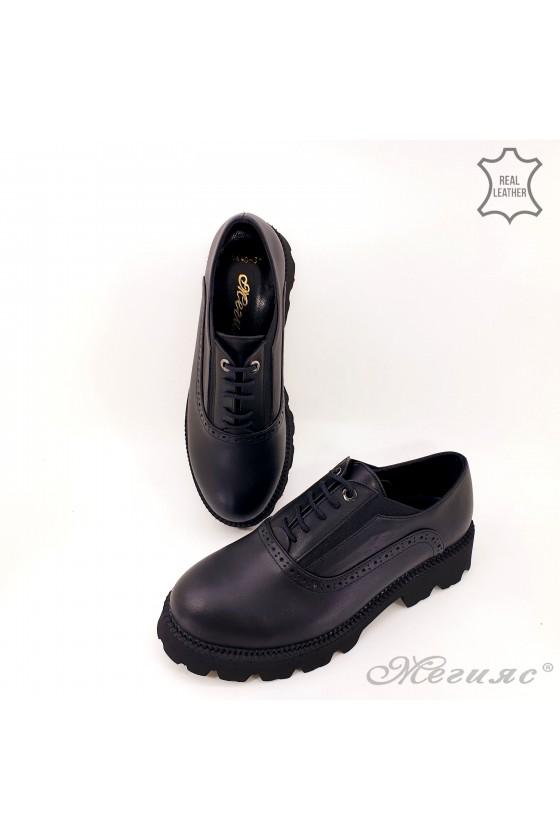 Дамски обувки с грайфер естествена кожа черни 5640