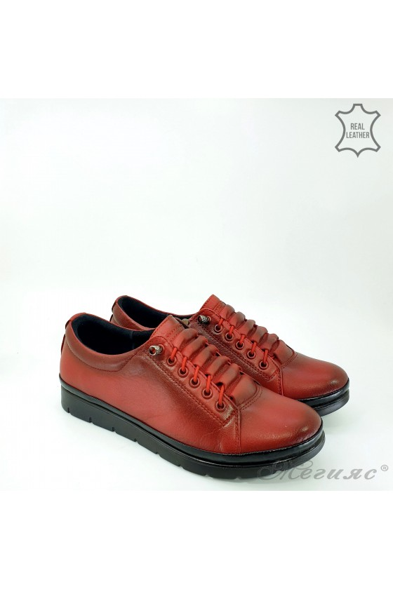 Дамски обувки естествена кожа червени 061