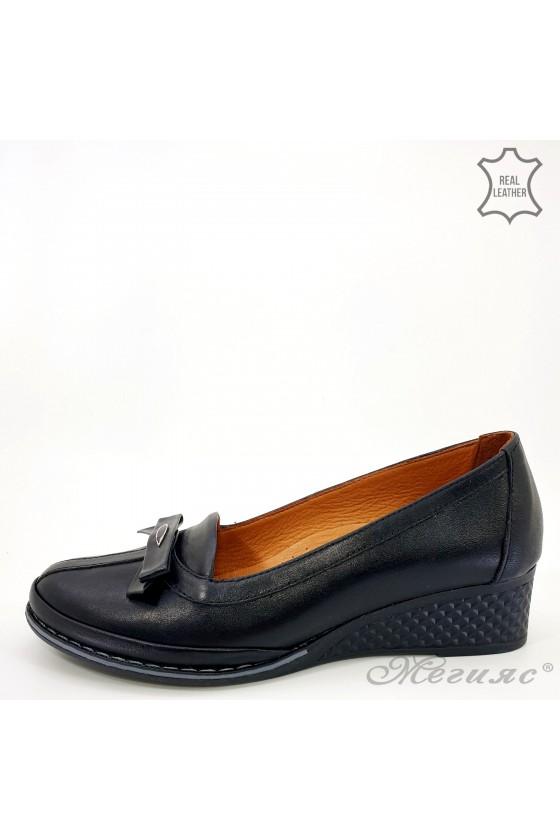 Дамски обувки на платформа естествена кожа черни 36-61