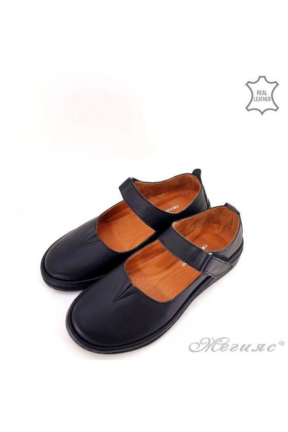 Дамски обувки анатомични естествена кожа черни 04106
