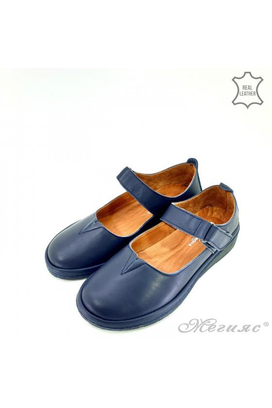 Дамски обувки анатомични естествена кожа сини 04106