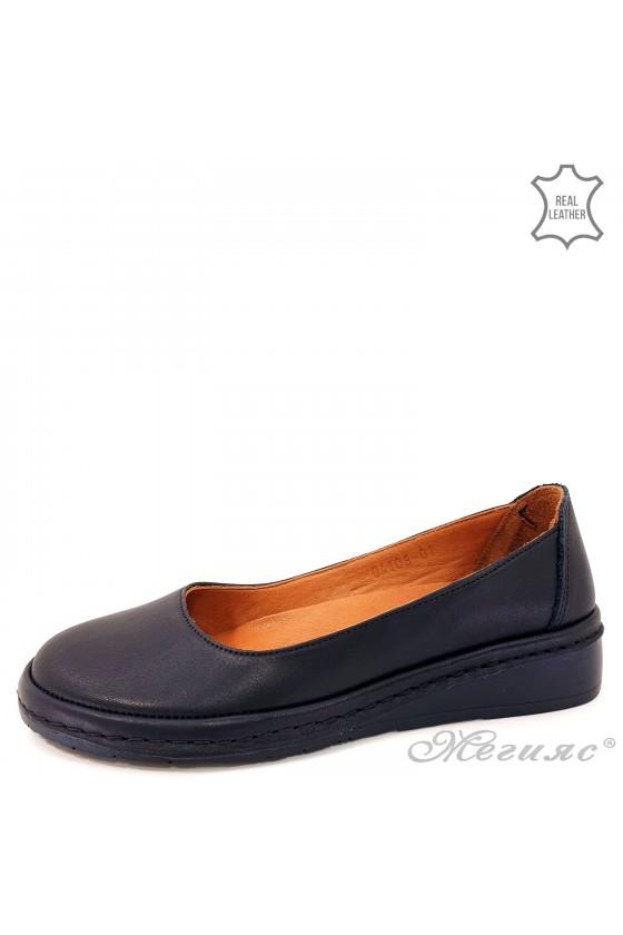 Дамски обувки анатомични естествена кожа черни 04108
