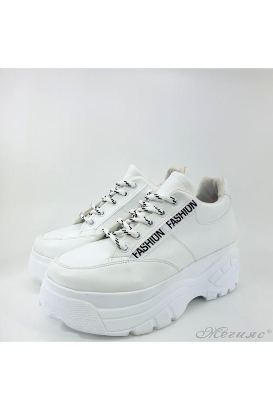 Дамски спортни обувки с висока подметка бели 3502