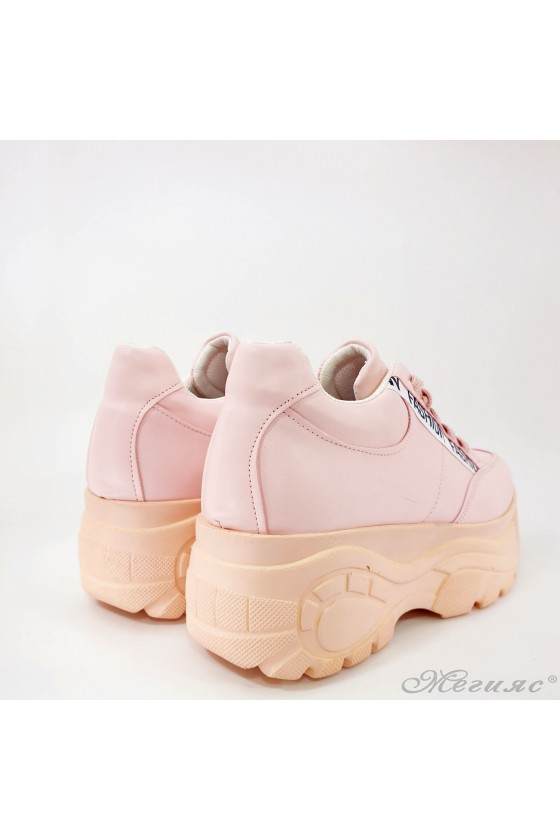 Дамски спортни обувки с висока подметка пудра 3502