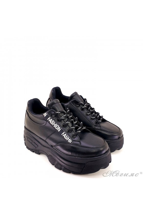 Дамски спортни обувки с висока подметка черни 3502