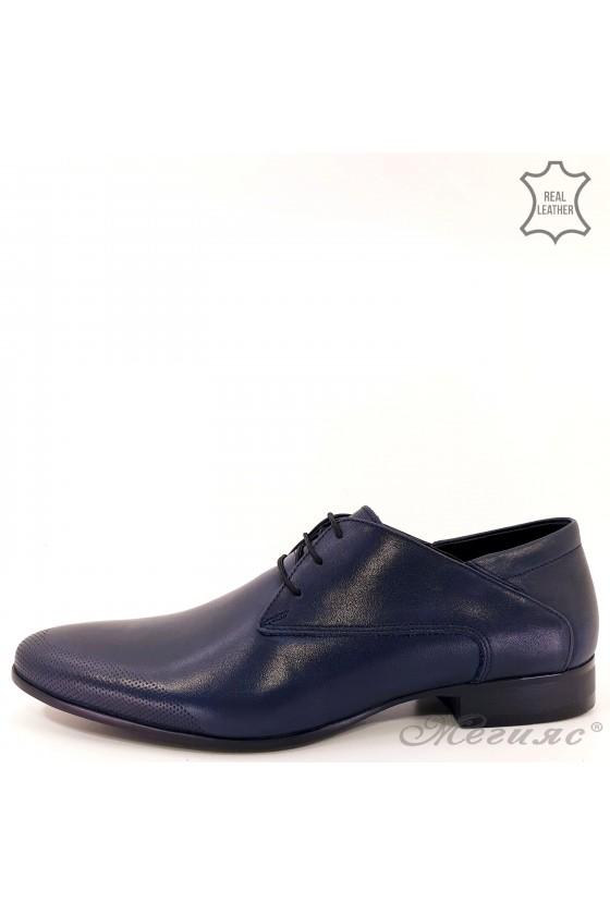 Мъжки елегантни обувки от естествена кожа сини 16036-57-1