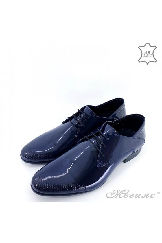 Мъжки елегантни обувки от естествен лак сини 16036-57-1