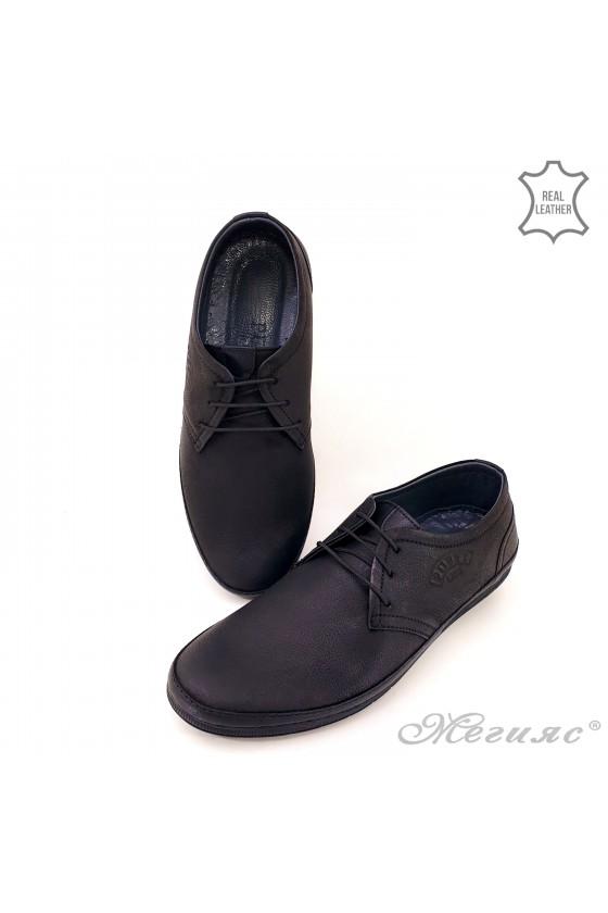 Мъжки обувки естествена кожа черни Пъфи 828