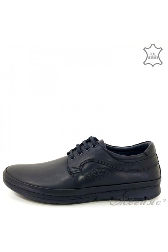 Мъжки обувки естествена кожа с връзки черни Пъфи 763