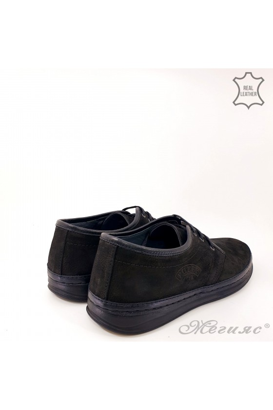 Мъжки обувки черни ежедневни от естествен велур 94