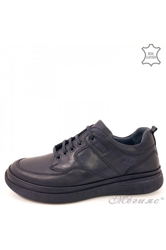 Мъжки обувки естествена кожа черни Пъфи 870