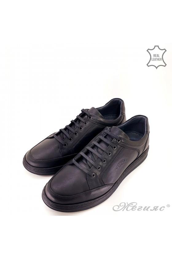 Мъжки обувки естествена кожа черни Пъфи 92-20