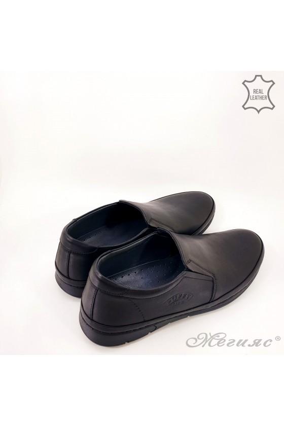 Мъжки обувки тип мокасини черни от естествена кожа  Пъфи 762