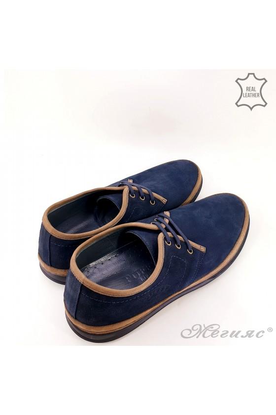 Мъжки обувки сини ежедневни от естествен велур 94