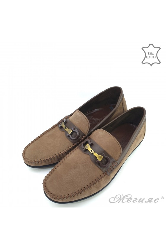 Мъжки обувки тип мокасини бежови от естествена кожа  450