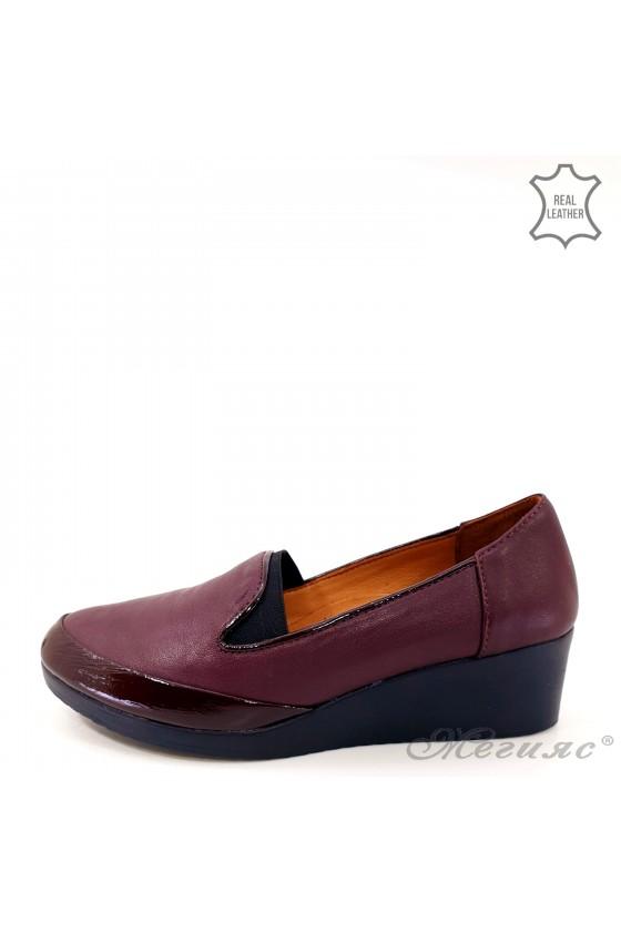 Дамски обувки големи номера естествена кожа+лак бордо 414-52-67