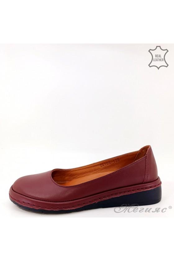 Дамски обувки анатомични естествена кожа бордо 04108