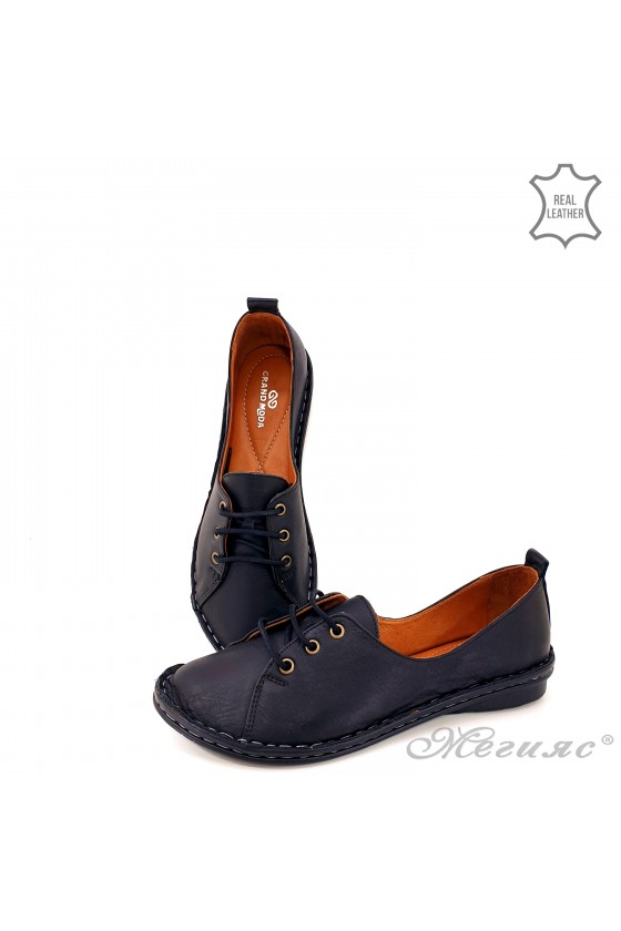 Lady shoes black leather 52422