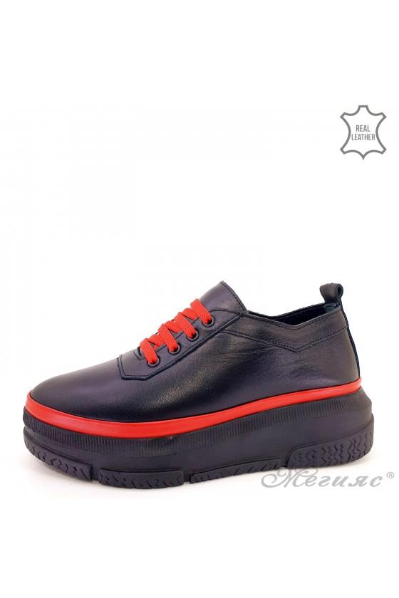 Дамски обувки естествена кожа черно и червено 1552