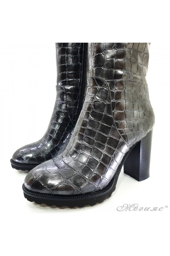 Lady boots Christine 20w18-347 grey  pu coated with lacquer
