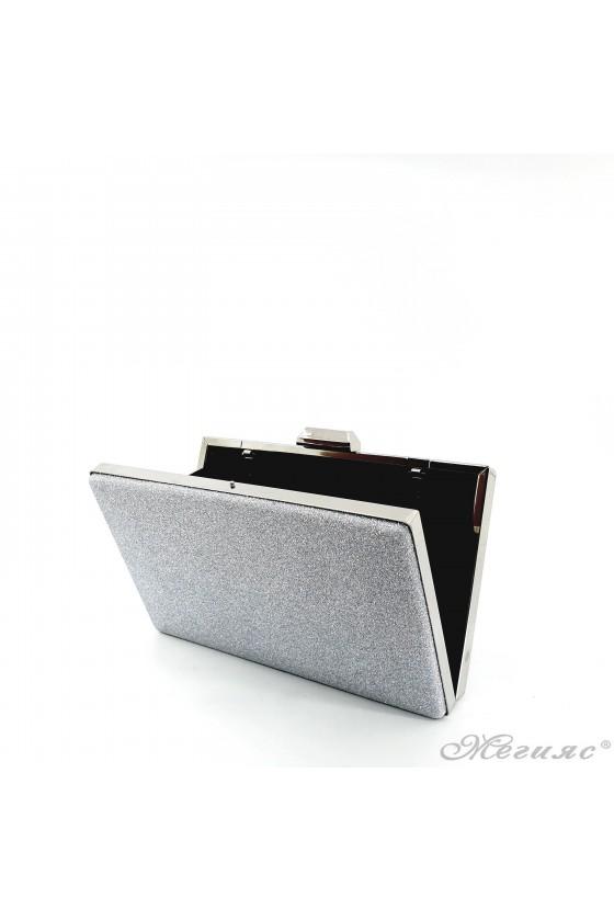 Дамска чанта сребърен брокат 5560