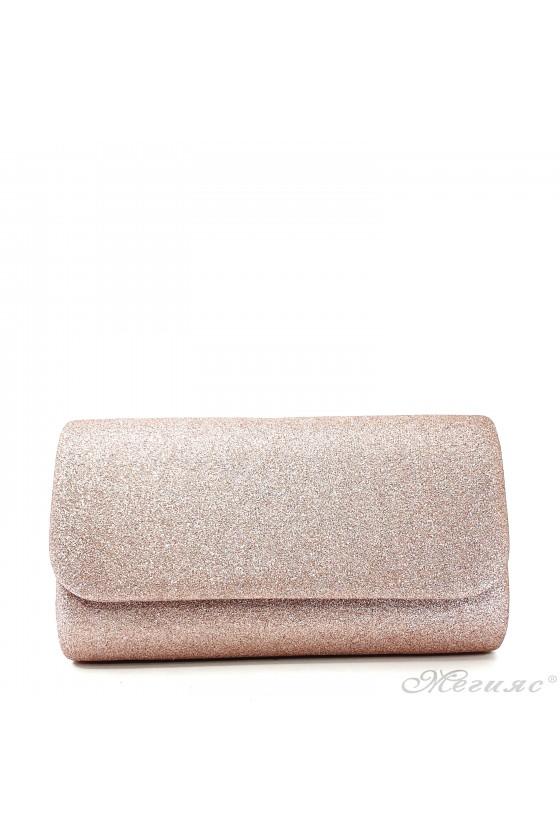Дамска чанта от ситен брокат пудра 575