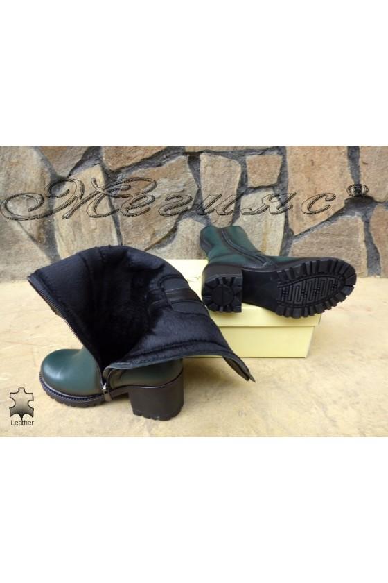 Дамски ботуши 50/303 зелени от естествена кожа