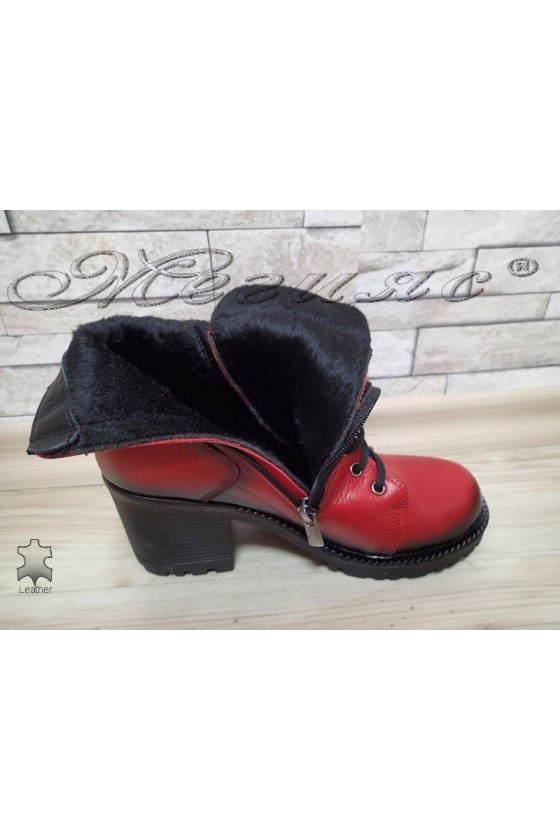 Lady boots 590 red leather