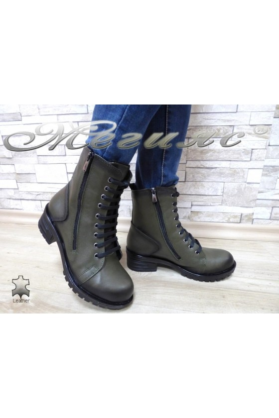 Lady boots 705 lt. green leather