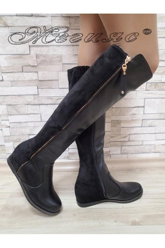 Дамски ботуши черни велур/кожа с платформа