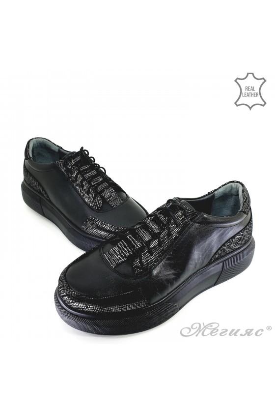 Дамски обувки естествена кожа черни 021