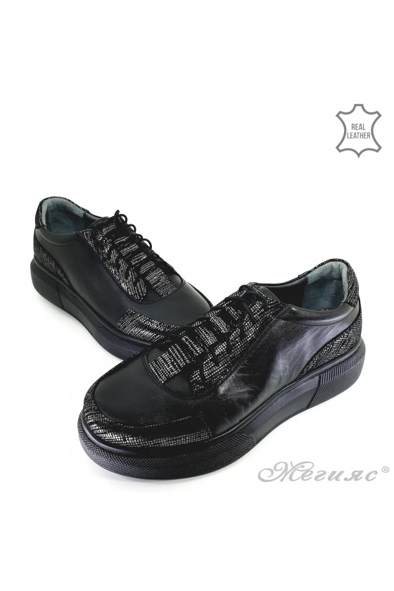 Lady shoes black leather 021