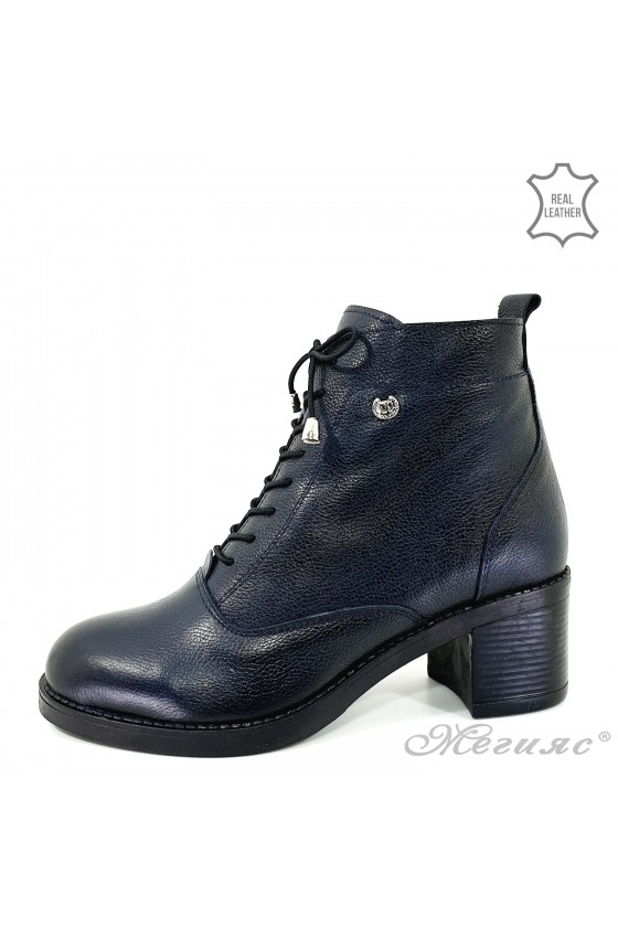 Lady boots blue leather 2035
