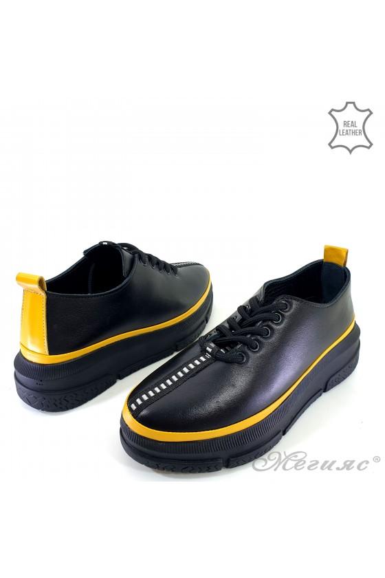 Дамски обувки естествена кожа черни с жълто 1550