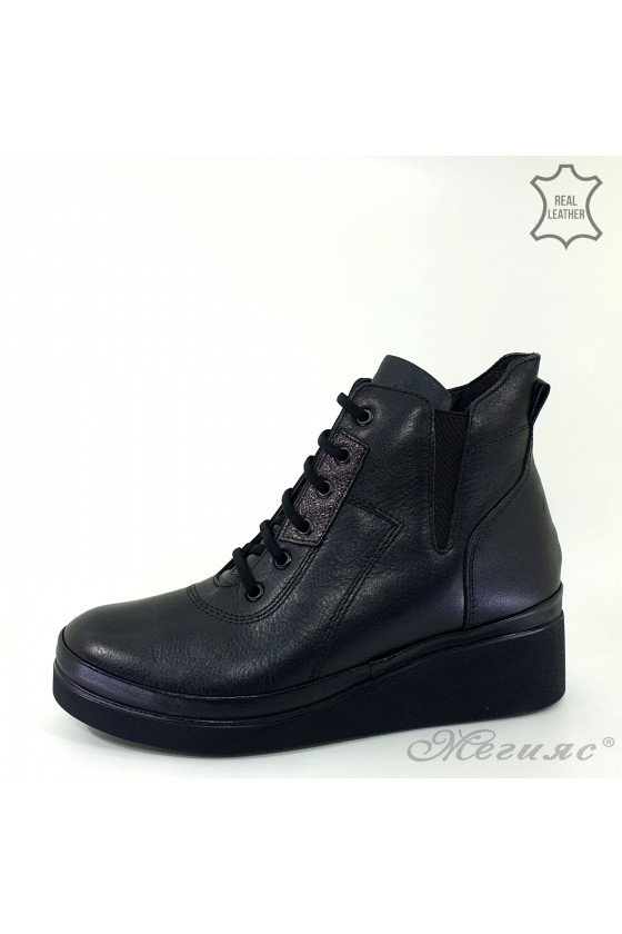 Lady boots black leather 3522