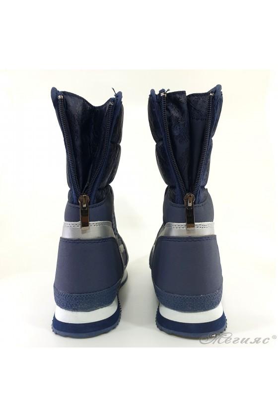 Lady warm boots 18-2770 blue pu+ textiles