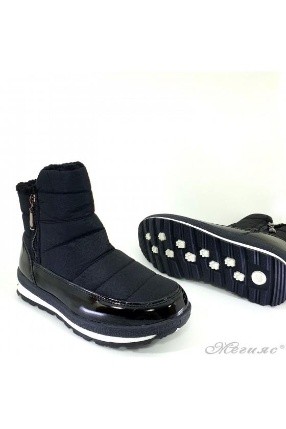 19-1314 Lady warm boots black patent/textiles
