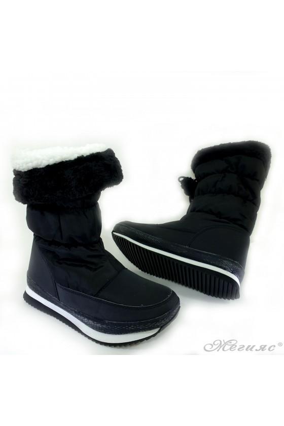19-1311 Lady warm boots black pu/textiles