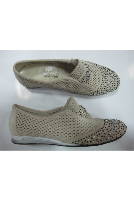 Lady flat shoes 221 beige suede leather with stones
