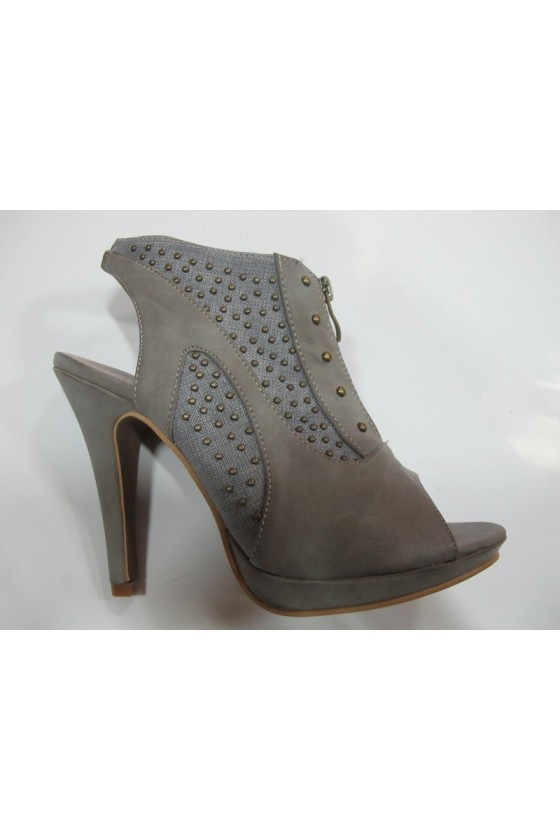 Lady shoes lina11-270 grey pu with caps with high heel