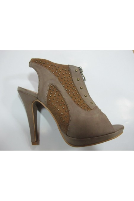 Lady shoes lina11-270 beige pu with caps with high heel
