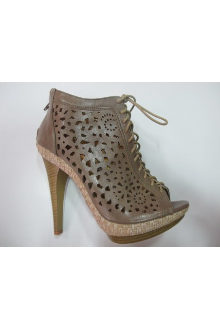 Lady shoes annie11-350 beige pu with high heel